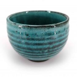 Japanese large cup Ø10cm blue turquoise BURUKOHIKI in ceramic