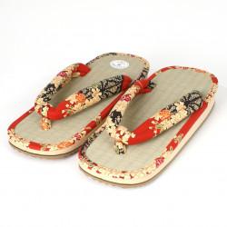 pair of Japanese sandals - Zori straw goza, NAOMI, red