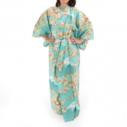 Japanese traditional turquois cotton yukata kimono sakura flowers on mont fuji for ladies