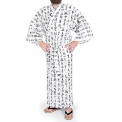 Japanese traditional white cotton yukata kimono HANNYA sutra for men