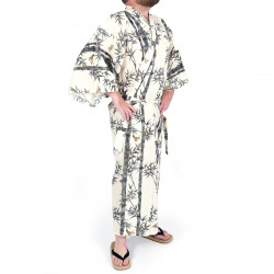 Japanese traditional beige cotton yukata kimono bamboo and sparrow for men