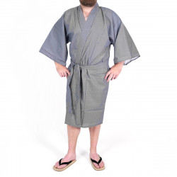 Japanese traditional blue cotton kimono happi coat stripe for men