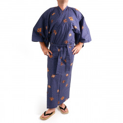 Japanese traditional blue navy cotton yukata kimono diamond pattern for men