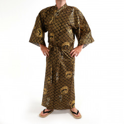 Japanese traditional blue navy cotton yukata kimono power of dragon for men