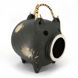 Terracotta mosquito repellent table ornament, KATORI BUTA, balck pig