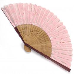 éventail japonais en soie et bambou SAKURA