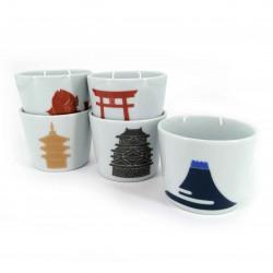 Set of 5 Japanese ceramic cups, symbols of Japan - NIPPON