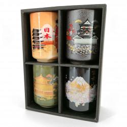 Set of 4 Japanese ceramic cups, traditional golden symbols - KYOTO