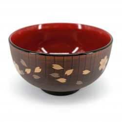 Soup bowl, in imitation wood resin, golden sakura - GORUDENCHERI