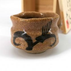 Traditional ceramic Japanese sake cup, HARU NO KUSA