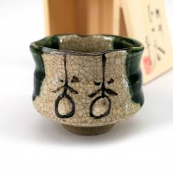 Traditional ceramic Japanese sake cup, ORIBE