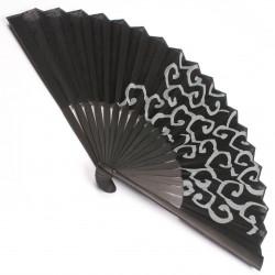 éventail noir japonais en coton et bambou KARAKUSA