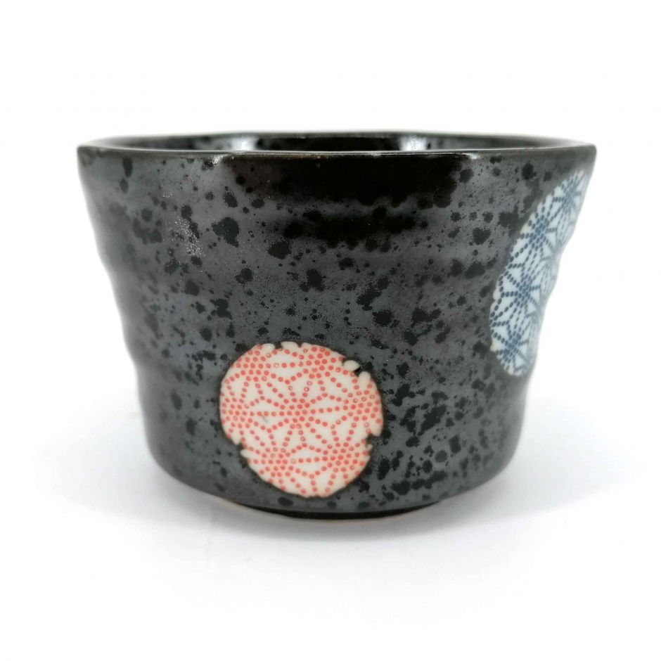 Small Japanese ceramic container, black circles blue and red patterns - ASANOHA