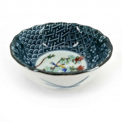 Small Japanese ceramic container, brown, white and blue, various patterns - HARU