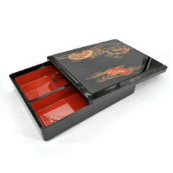 Fiambrera bento rectangular, con compartimentos, negro, FAN