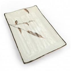 Small rectangular Japanese ceramic plate, white, reed patterns, ASHI