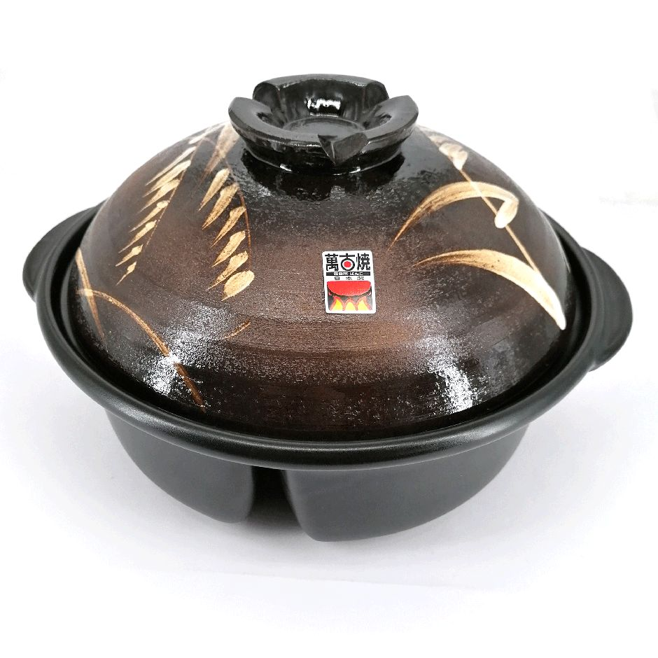 Donabe - clay pot with compartments, brown, reed pattern, ASHI