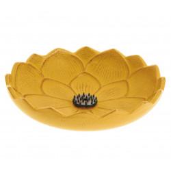 Japanese yellow cast iron incense burner, IWACHU LOTUS, lotus flower