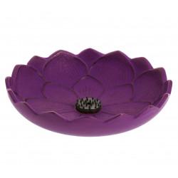 Japanese cast iron incense burner purple, IWACHU LOTUS, lotus flower