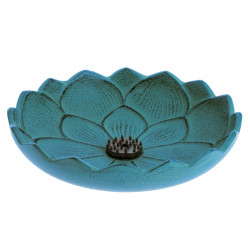 Japanese blue cast iron incense burner, IWACHU LOTUS, lotus flower