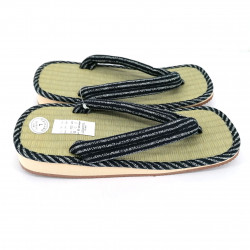 pair of Japanese sandals - Zori straw goza for men, CHOKUSEN 027, blue