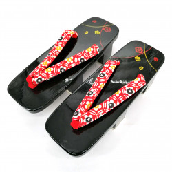 the pair of Japanese lacquered Geta clogs, SAKURA 3, black