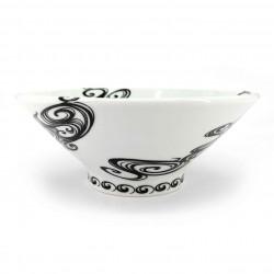 Japanese ceramic ramen bowl, white, black swirls, SENPU
