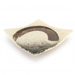 Small square Japanese ceramic plate, beige, brown brushstroke - MIGAKIMASU