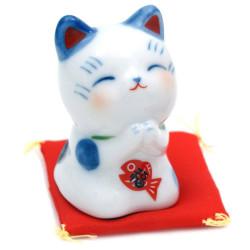 Chat porte-bonheur japonais manekineko bleu, ONEGAI, bleu