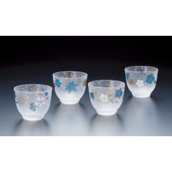 Set of 4 Japanese Sake glasses, BLUE SHIKI