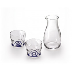 Japanese glass sake service, 1 bottle and 2 glasses, MOKUHYO