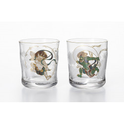 Set of 2 Japanese whiskey glasses, PREMIUM FUJIN RAIJIN