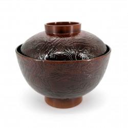 Soup bowl, wood effect, red interior, KI NO KOKA