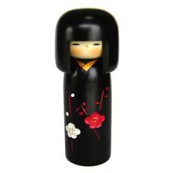 poupée en bois japonaise - kokeshi, SACHI NO HANA, noire