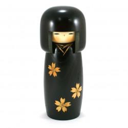 bambola di legno giapponese - kokeshi, SAKURA, nero