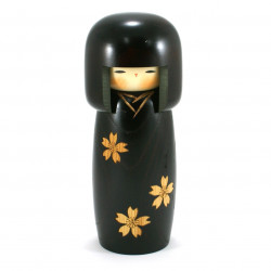 Japanese black kokeshi doll with cherry blossom pattern, ZOGAN KOKESHI SAKURA