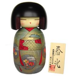 muñeca de madera japonesa - kokeshi, SHUNKO, verde