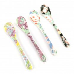 Set of 4 ceramic spoons, colorful flowers, IROTORIDORI NO HANA