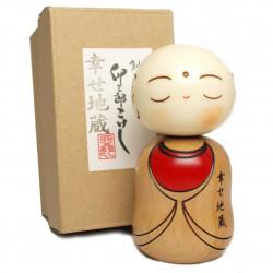 bambola di legno giapponese - kokeshi, SHIAWAZE JIZO, monaco
