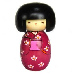 Japanese kokeshi doll with flower garden pattern, HANAZONO