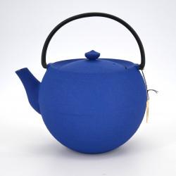 Large round Japanese prestige cast iron teapot, CHÛSHIN KÔBÔ MARUTAMA, blue