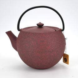 Large round Japanese prestige cast iron teapot, CHÛSHIN KÔBÔ MARUTAMA, red