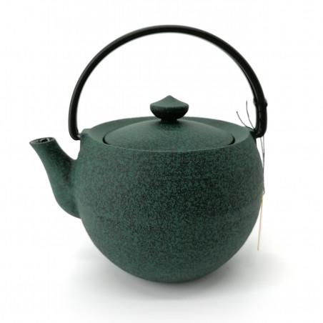 Small round Japanese prestige cast iron teapot, CHÛSHIN KÔBÔ MARUTAMA, green