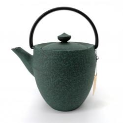 Small Japanese prestige high cast iron teapot, CHÛSHIN KÔBÔ MARUTSUTSU, green
