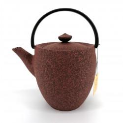 Small Japanese prestige high cast iron teapot, CHÛSHIN KÔBÔ MARUTSUTSU, red