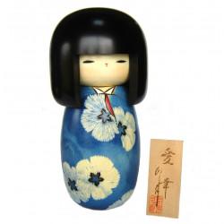 muñeca de madera japonesa - kokeshi, AIKO, azul