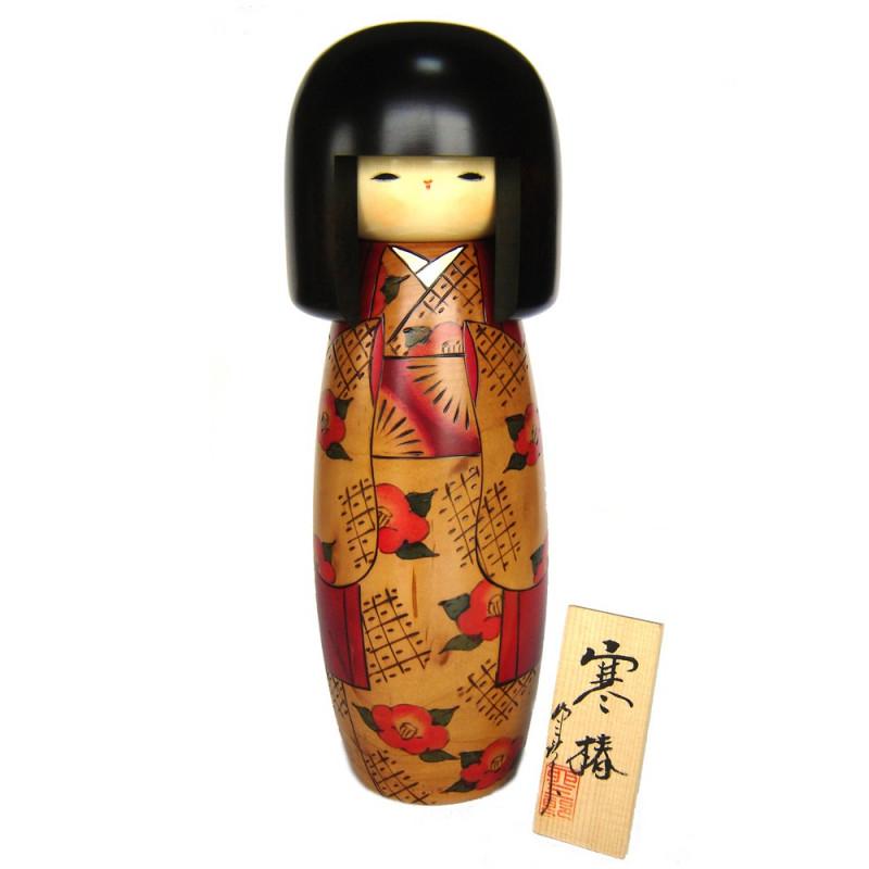 muñeca de madera japonesa - kokeshi, KANTSUBAKI, roja