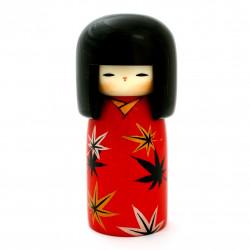 poupée en bois japonaise - kokeshi, TSUBAKI, rouge