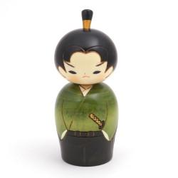 Japanese kokeshi doll young green samurai, WAKA SAMURAI