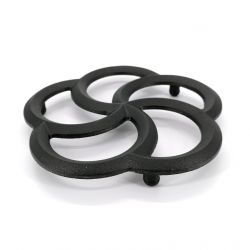 Trébede en hierro fundido japonés para tetera, ITSUTSUWA, negro